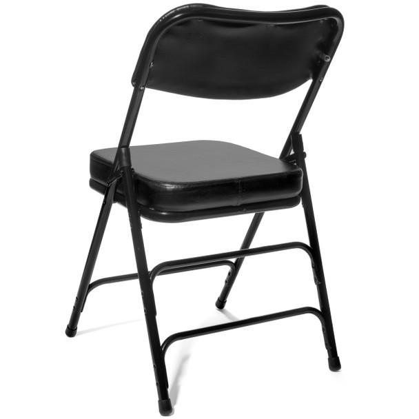"XL Series 2"" Thick Vinyl Padded Folding Chair - Quad Hinged - Triple Cross Braced- Black"