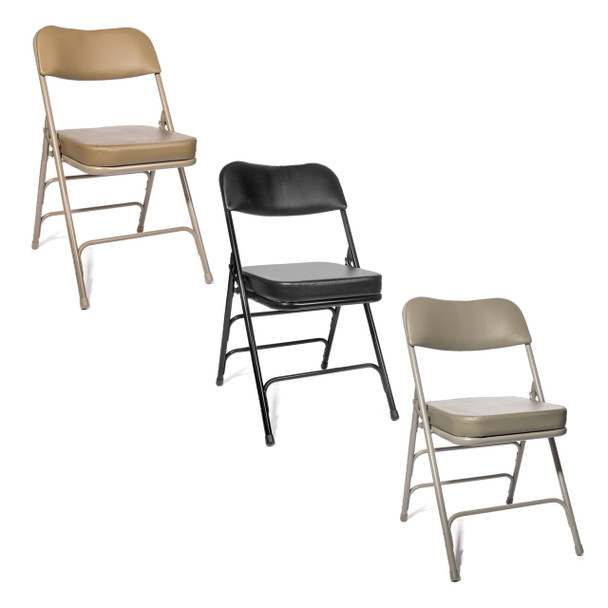 "XL Series 2"" Thick Vinyl Padded Folding Chair - Quad Hinged - Triple Cross Braced in Beige, Black, and Grey"