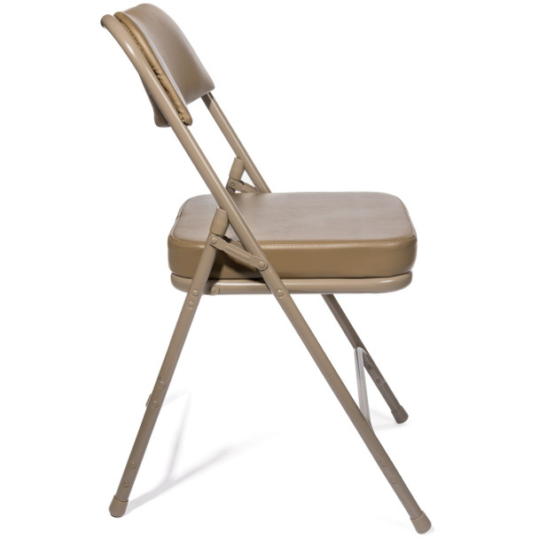 "XL Series 2"" Thick Vinyl Padded Folding Chair - Quad Hinged - Triple Cross Braced-Beige"