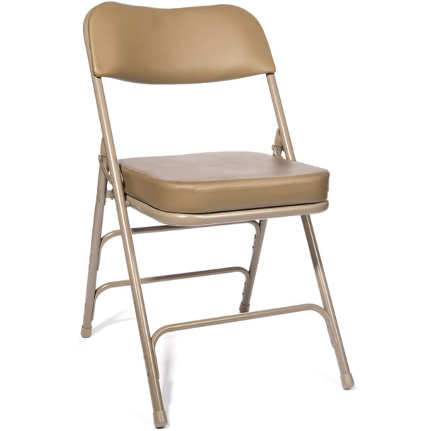 "XL Series 2"" Thick Vinyl Padded Folding Chair - Quad Hinged - Triple Cross Braced-Beige in Beige"