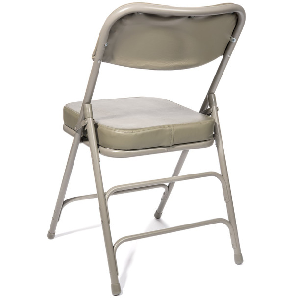 "XL Series 2"" Thick Vinyl Padded Folding Chair - Quad Hinged - Triple Cross Braced-Gray"