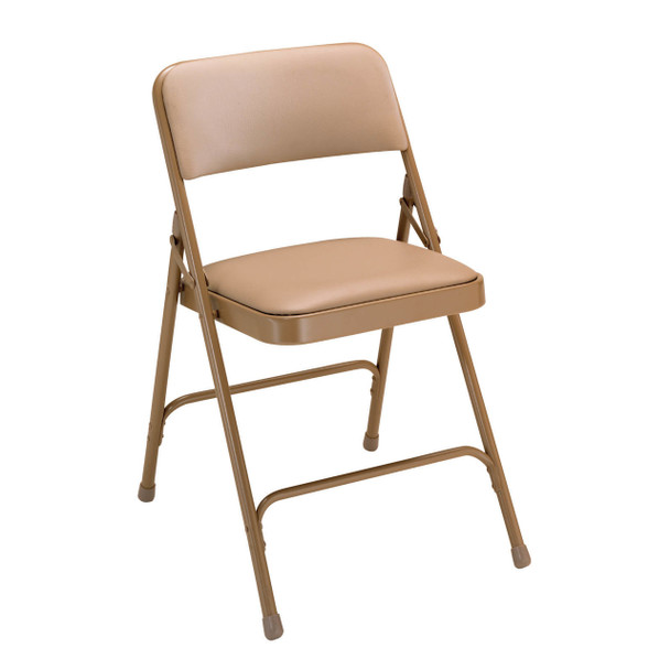 Body Builder Vinyl Padded Folding Chair By National Public Seating, 1200 Series -Beige