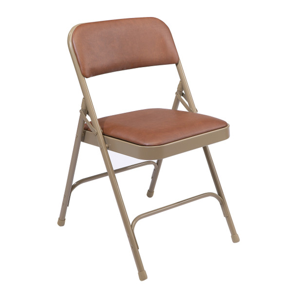 Body Builder Vinyl Padded Folding Chair By National Public Seating, 1200 Series -Brown