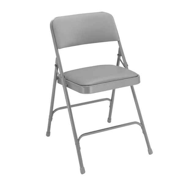 Body Builder Vinyl Padded Folding Chair By National Public Seating, 1200 Series -Gray
