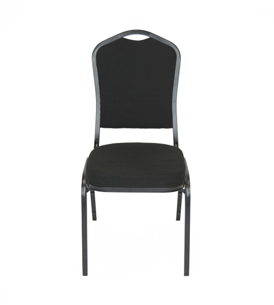 Classic Series Crown Back Fabric Upholstered Banquet Stack Chair-Solid Black with Black Frame