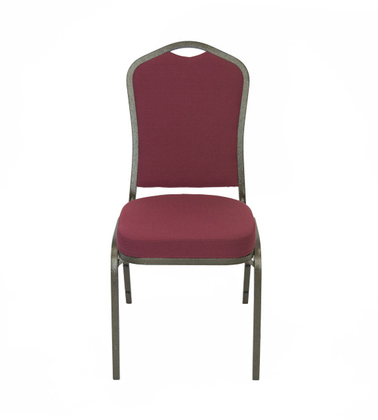 Classic Series Crown Back Fabric Upholstered Banquet Stack Chair-Solid Burgundy