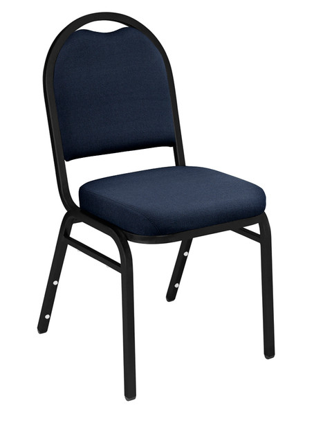 Dome Top Fabric Padded Stacking Chair By National Public Seating, 9200 Series-Navy with Black Frame