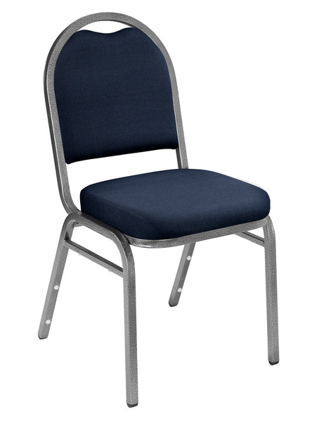 Dome Top Fabric Padded Stacking Chair By National Public Seating, 9200 Series-Navy with Silver Frame