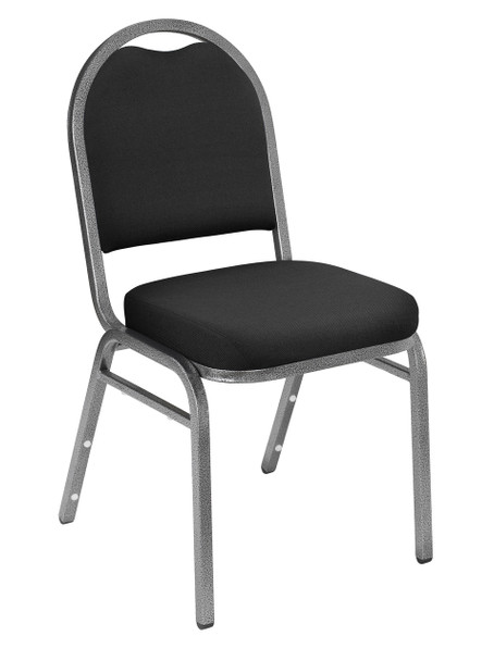 Dome Top Fabric Padded Stacking Chair By National Public Seating, 9200 Series-Black with Silver Frame
