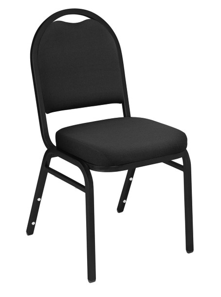 Dome Top Fabric Padded Stacking Chair By National Public Seating, 9200 Series-Black with Black Frame