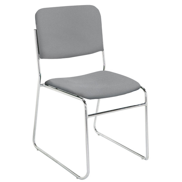 Signature Lightweight Upholstered Padded Stack Chair By National Public Seating, 8600 Series-Gray