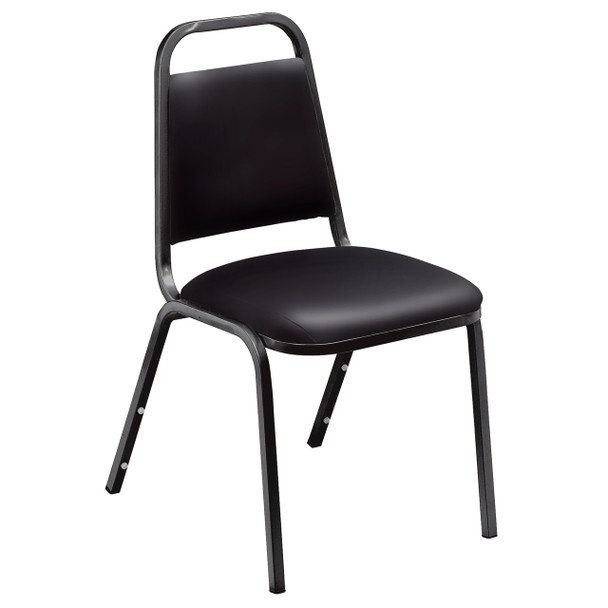 Pleasant Vinyl Padded Stack Chair by National Public Seating, 9100 Series -Black