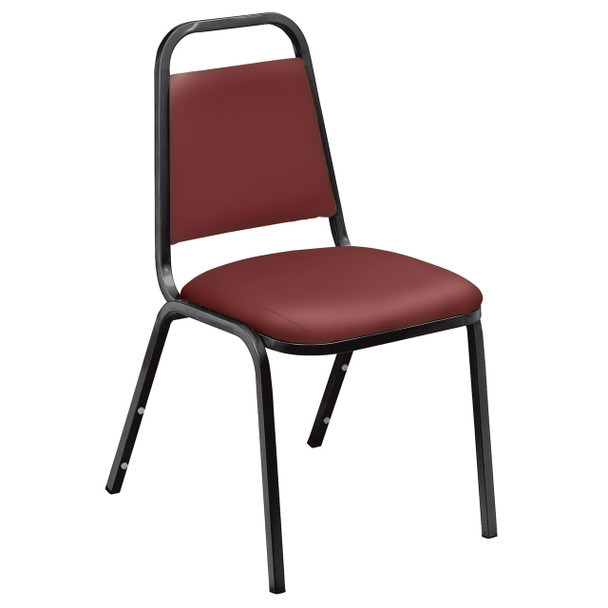 Pleasant Vinyl Padded Stack Chair by National Public Seating, 9100 Series -Burgundy
