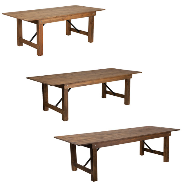 "40"" Wide Hercules Antique Rustic Solid Pine Folding Farm Tables"