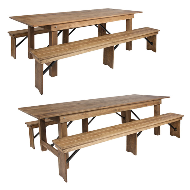 """40"""" Wide Hercules Antique Rustic Solid Pine Folding Farm with 2 Bench Set"""