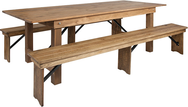 """40"""" Wide Hercules Antique Rustic Solid Pine Folding Farm with 2 Bench Set -8 Foot Table with 2 Benches"""