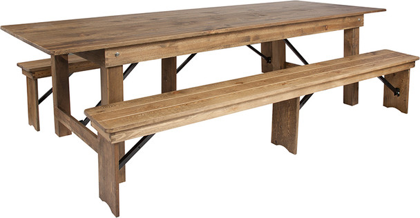 """40"""" Wide Hercules Antique Rustic Solid Pine Folding Farm with 2 Bench Set -9 Foot Table with 2 Benches"""