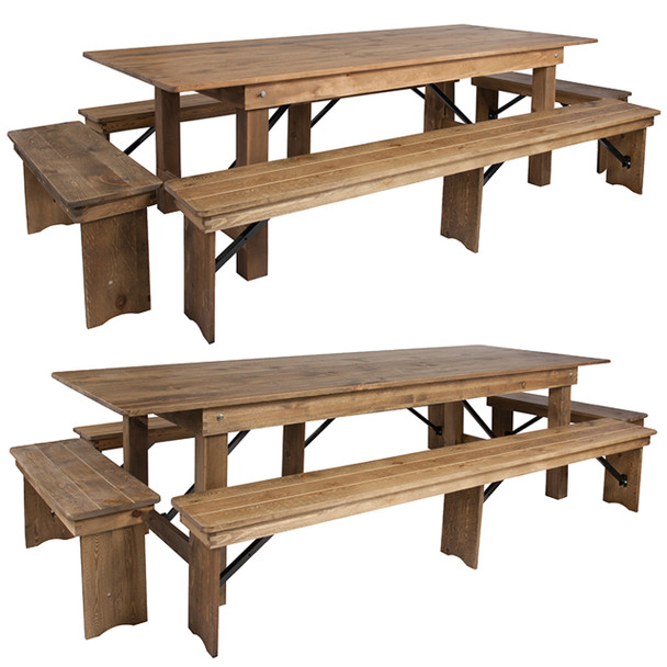 "40"" Wide Hercules Antique Rustic Solid Pine Folding Farm Table with 2 Long Benches & 2 Short Benches Set"