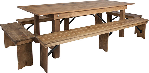 "40"" Wide Hercules Antique Rustic Solid Pine Folding Farm Table with 2 Long Benches & 2 Short Benches Set-8 Ft Table"