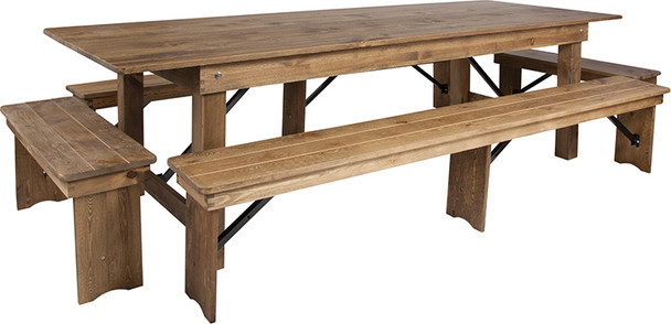 "40"" Wide Hercules Antique Rustic Solid Pine Folding Farm Table with 2 Long Benches & 2 Short Benches Set-9 Ft Table"