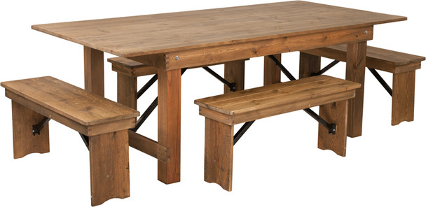 "40"" Wide Hercules Antique Rustic Solid Pine Folding Farm Table with 4 Short Benches-7 Ft table"