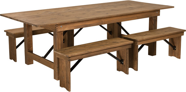"40"" Wide Hercules Antique Rustic Solid Pine Folding Farm Table with 4 Short Benches-8 Ft table"