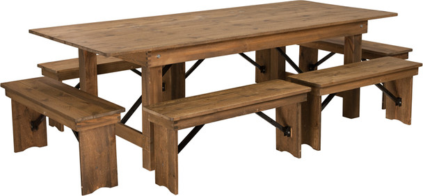 "40"" Wide Hercules Antique Rustic Solid Pine Folding Farm Table with 6 Short Benches"