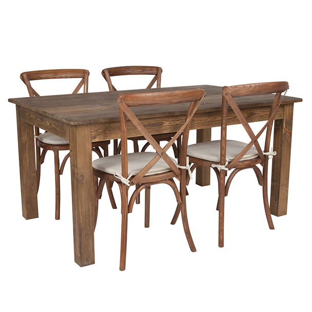 "60"" x 38""x Antique Rustic Farm Table Set with 4 or 6 Cross Back Chairs and Cushions (4 Cross Back Chairs)"