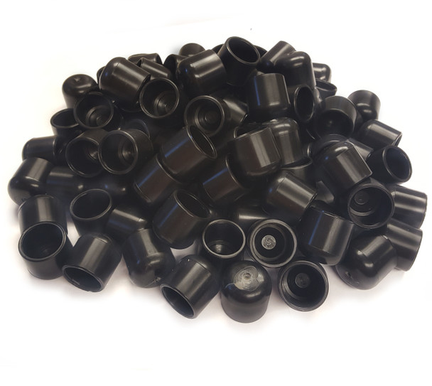 "100 pk. USA Made Black Non-Marring Plastic Foot Cap Glides for Metal and Padded Folding Chairs, Fits 7/8"" OD Tube"