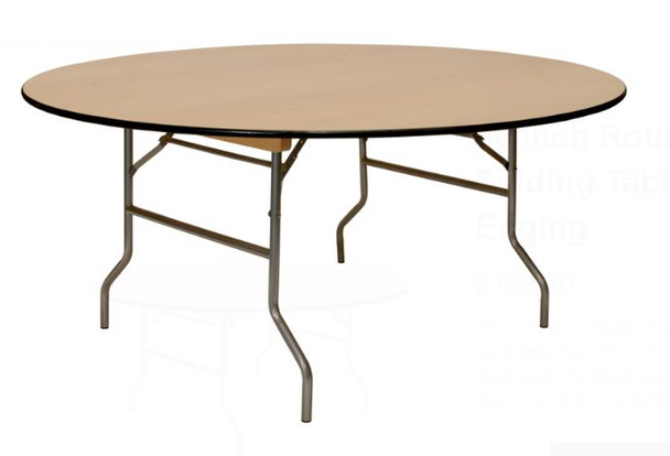"European Birch 66"" (5.5FT) Round Wood Banquet Folding Table With Vinyl Edge"