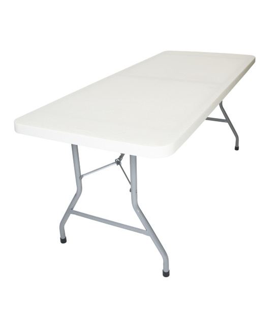"30""x96"" (8 ft) Rectangle Plastic Folding Table, Solid One Piece Top, Locking Steel Frame"