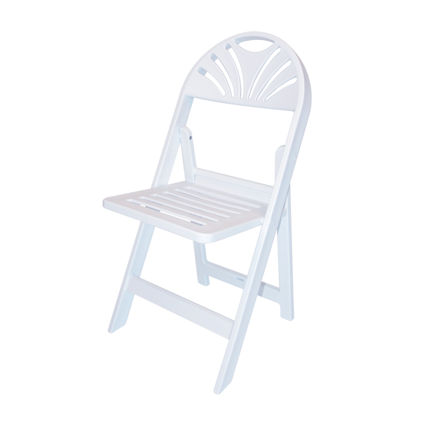 Rhino White Slatted Resin Fan Back Folding Chair - 100% Virgin Resin, Resistant To Warping & Fading