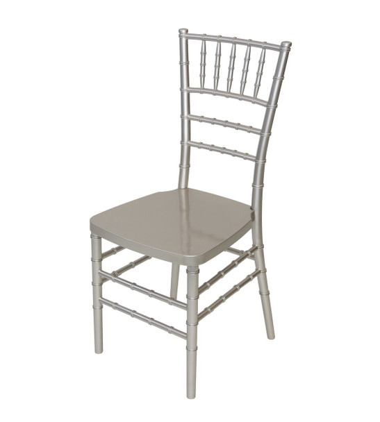 Rhino Resin Chiavari Chair with Steel Core - 100% Non-Recycled Virgin Resin, Resistant To Warping & Fading (Metallic)