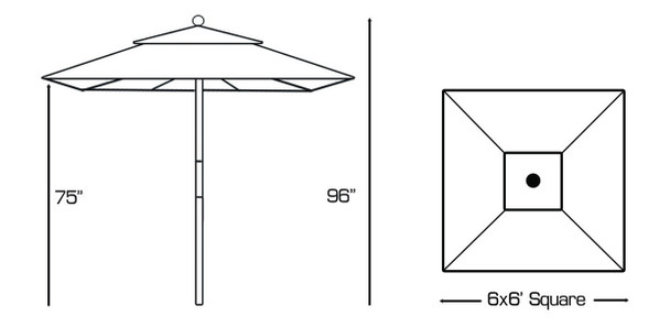 Galtech 6 x 6-ft. Square Top Wood Cafe Style Umbrella With Manual Lift, Model 161 (GA161)