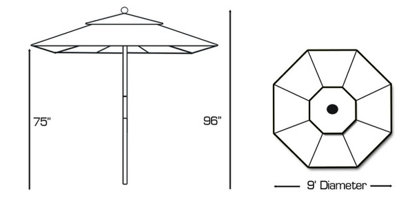 Galtech 9-ft. Wood Umbrella With 2 Pulley Lift, Model 132-232 (GA132-232)