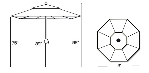 Galtech 9-ft. Teak Wood Umbrella With Rotational Tilt Crank Lift, Model 537 (GA537)