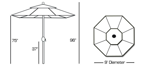 Galtech 9-ft. Aluminum Umbrella With Autotilt Crank Lift, Model 736 (GA736)