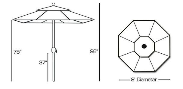 Galtech 9-ft. L.E.D. Aluminum Umbrella With Auto-tilt Crank Lift, Model 936 (GA936)