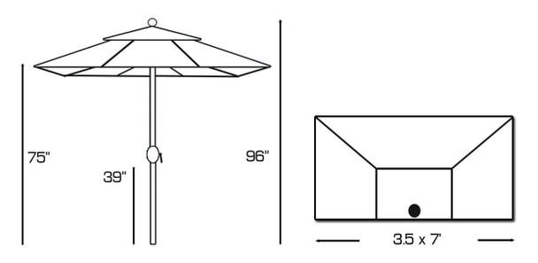 Galtech 3.5x7-ft. Half Wall Aluminum Umbrella With Crank Lift, Model 772AB (GA772AB)