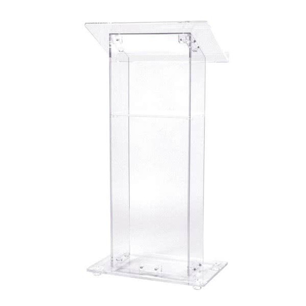 Contemporary Clear Acrylic Podium With Convenient Shelf