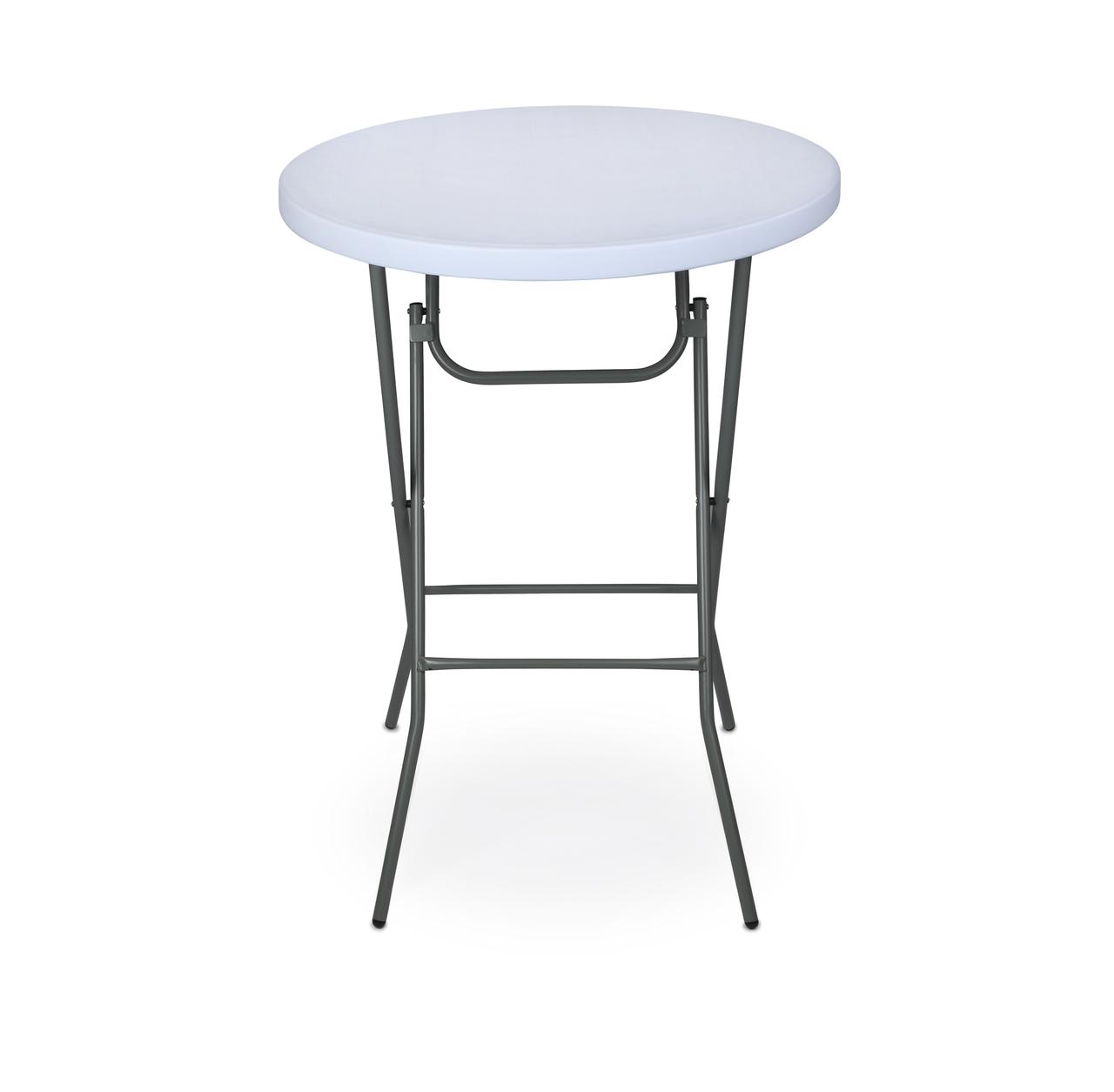 Rhinolite 32 Round Plastic Folding High Top Cocktail Table 43 5 Bar Height Folding Steel Frame