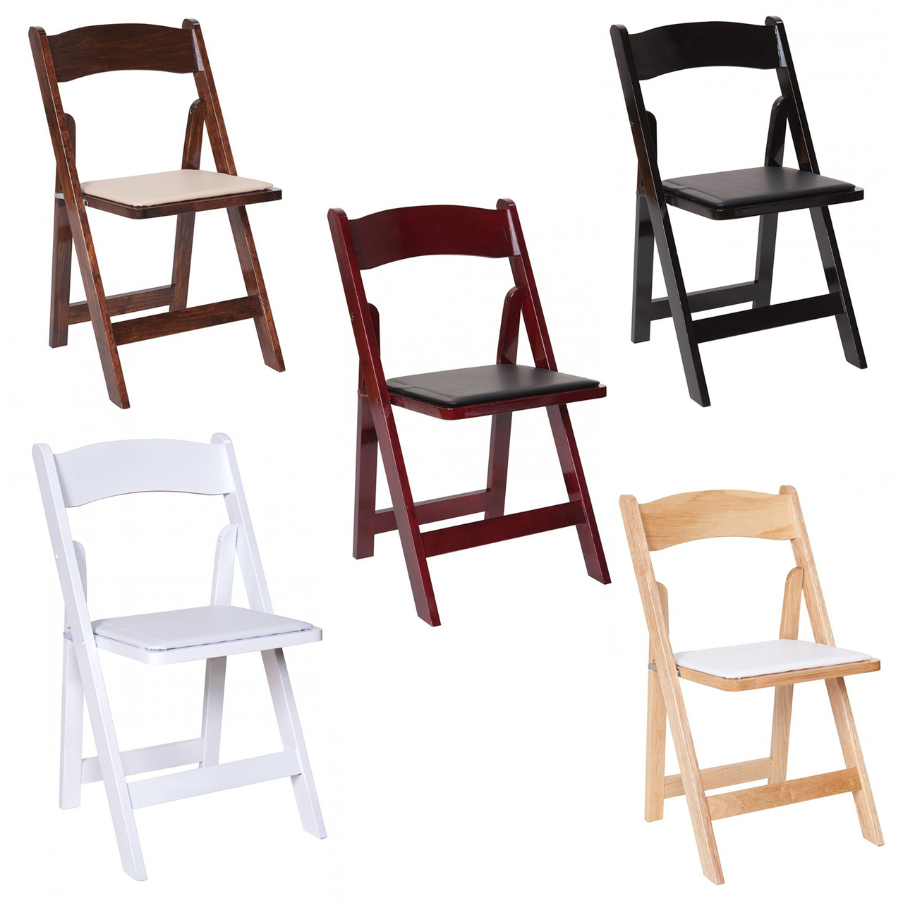 Surprising Premier Series Wedding And Event Wood Folding Chair With Vinyl Seat Pad Free Storage Bag Caraccident5 Cool Chair Designs And Ideas Caraccident5Info