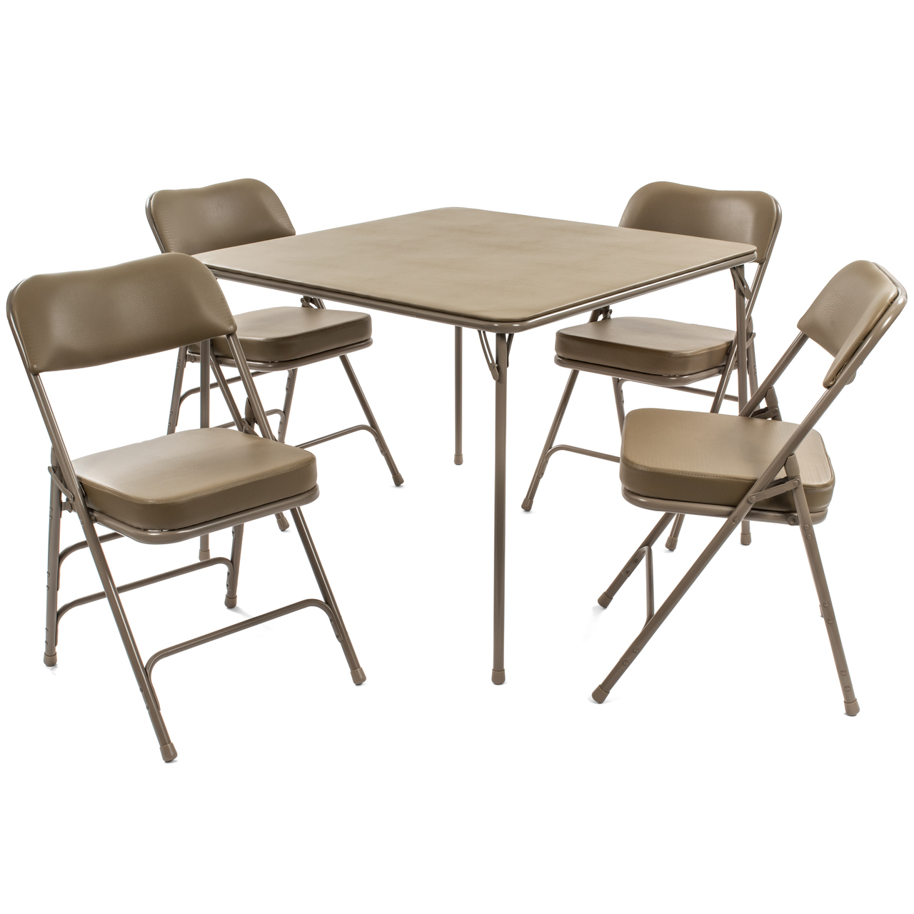5pc Xl Series Folding Card Table And Ultra Thick Padded Chair Set Beige