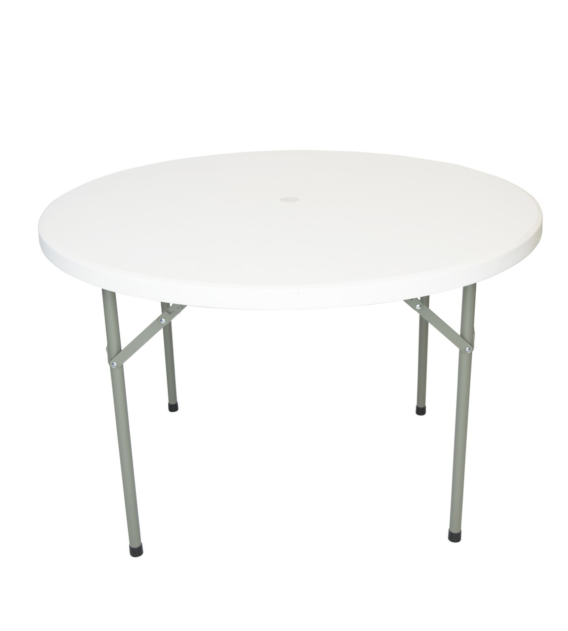 Rhinolite 48 4 Ft Round Plastic Folding Table With Umbrella Hole Solid One Piece Top Locking Steel Frame Foldingchairsandtables Com