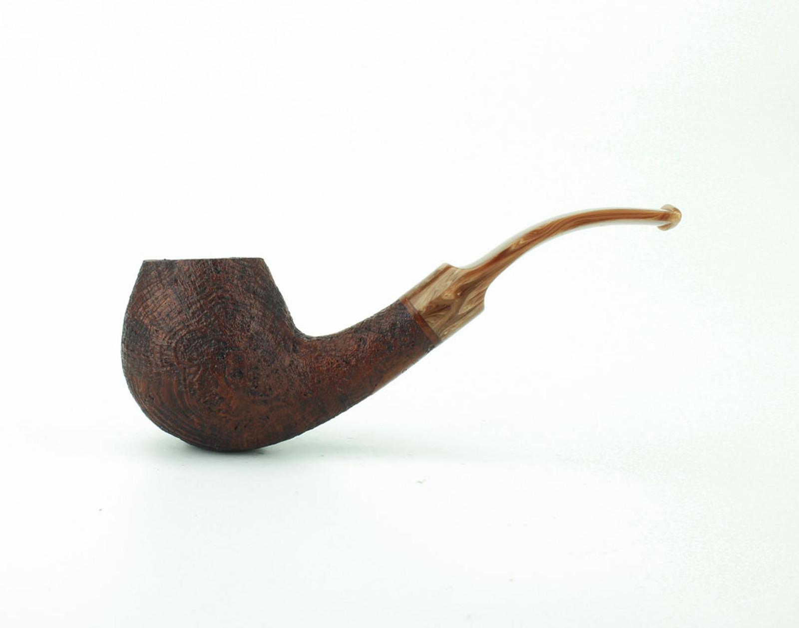 C91BB C - BriarWorks Classic C91 Bent Apple - Brown Blast w/ Coffee Stem