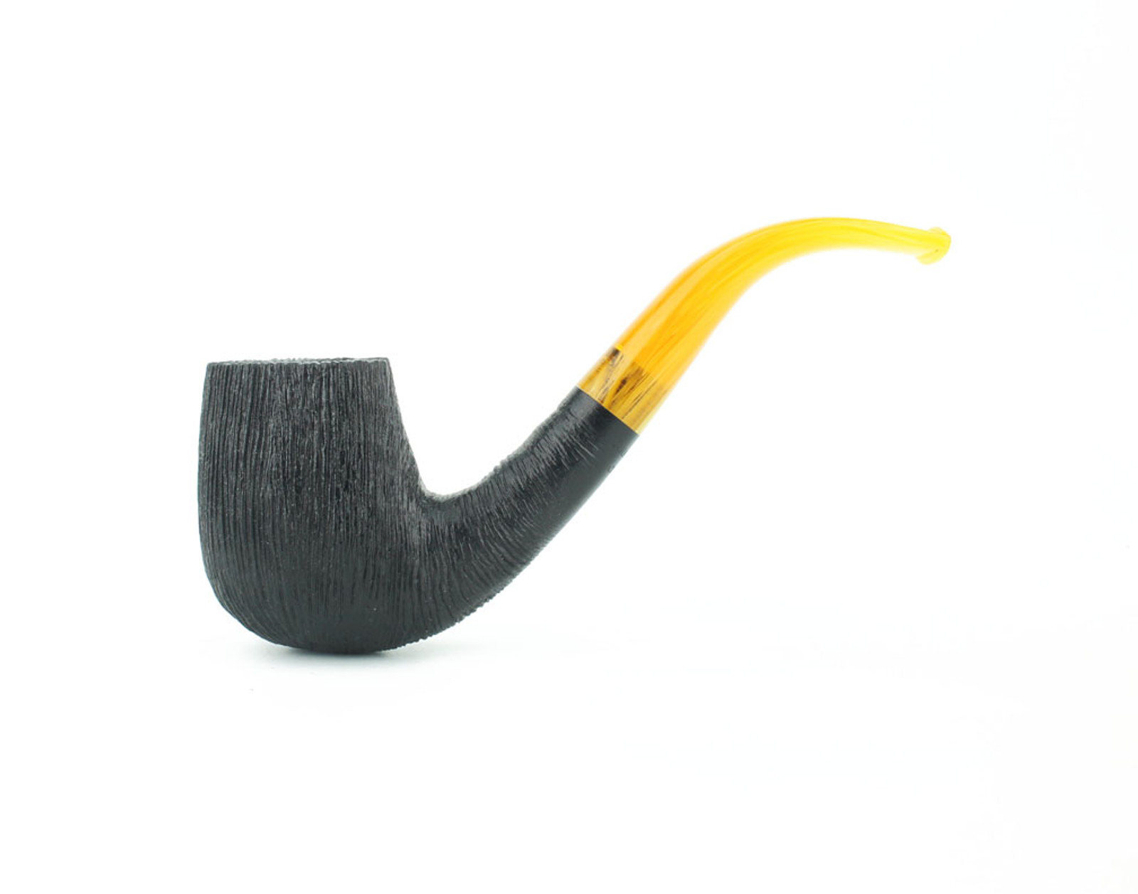 C12DR A - BriarWorks Classic C12 Bent Billiard - Dark Rusticated w/ Amber Stem