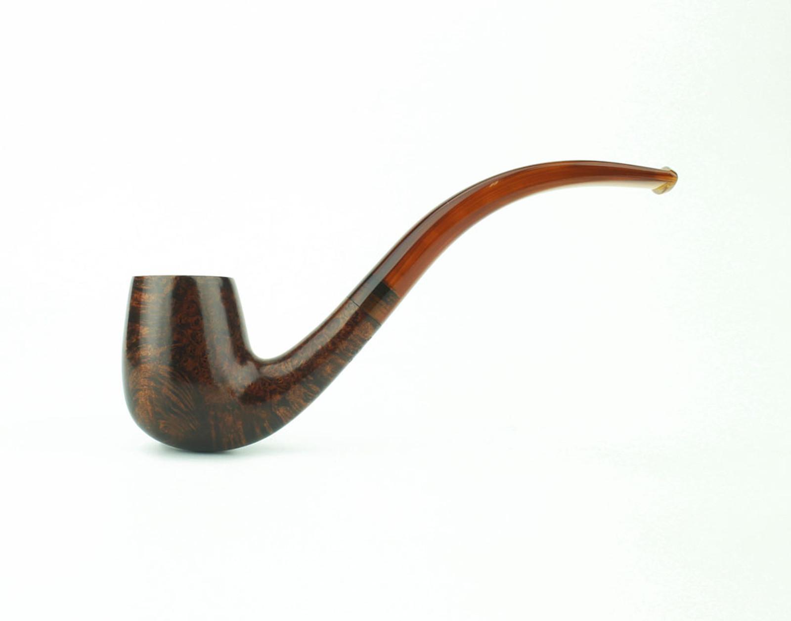 C13VW T - BriarWorks Classic C13 Petite Bent Billiard - Vintage Walnut w/ Tortoise Stem