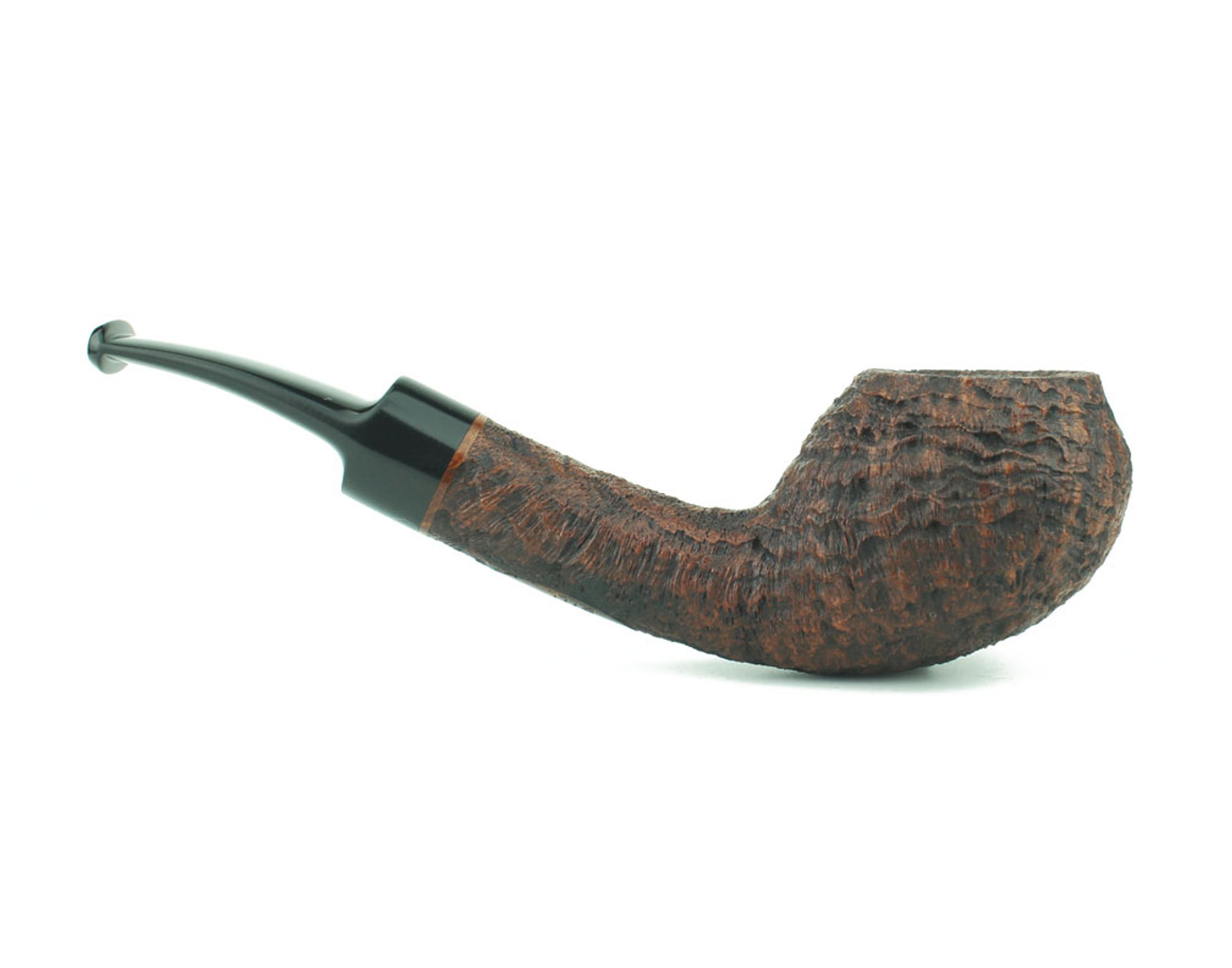BWHBS02 - BriarWorks Handmade Bill Shalosky Brown Blast Bent Apple w/ Black Ebonite Stem