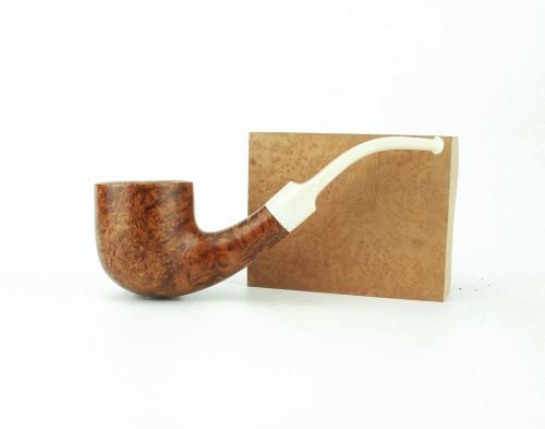 C131LS W - BriarWorks Classic C131 Bent Pot - Light Smooth w/ White Stem