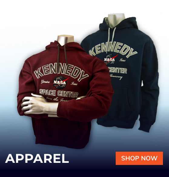 maroon kennedy space center hooded sweatshirt and black kennedy space center hooded sweatshirt